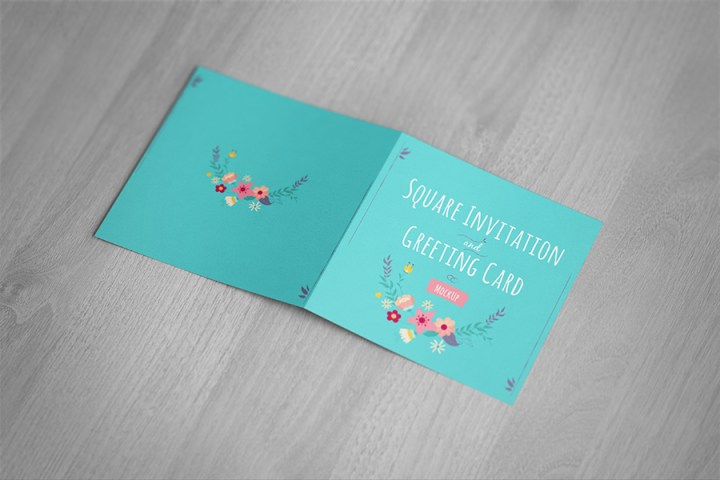 Square Invitation Greeting Card Mockup