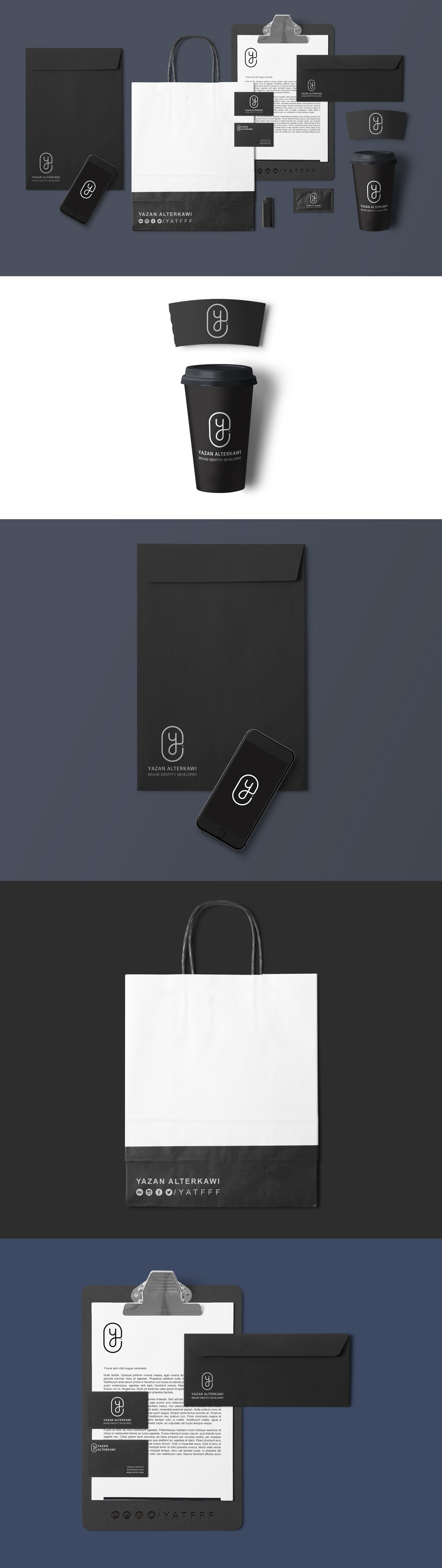 Stationery Branding Black Mockup PSD