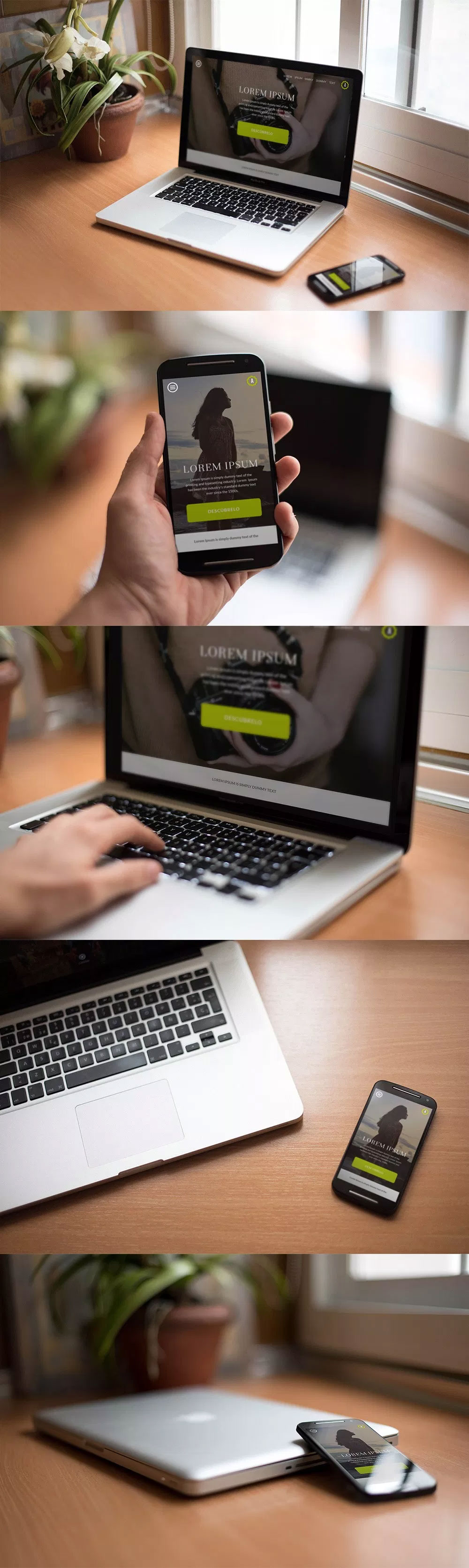 7 Free Smartphone and Macbook Pro PSD Mockups