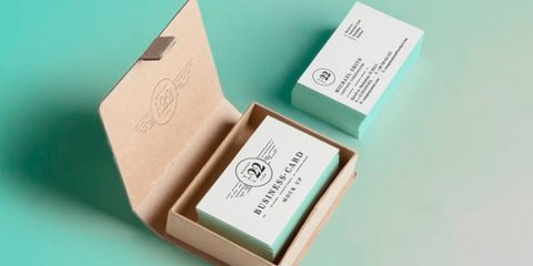 Business Card Mockup PSD With Cardboard Box