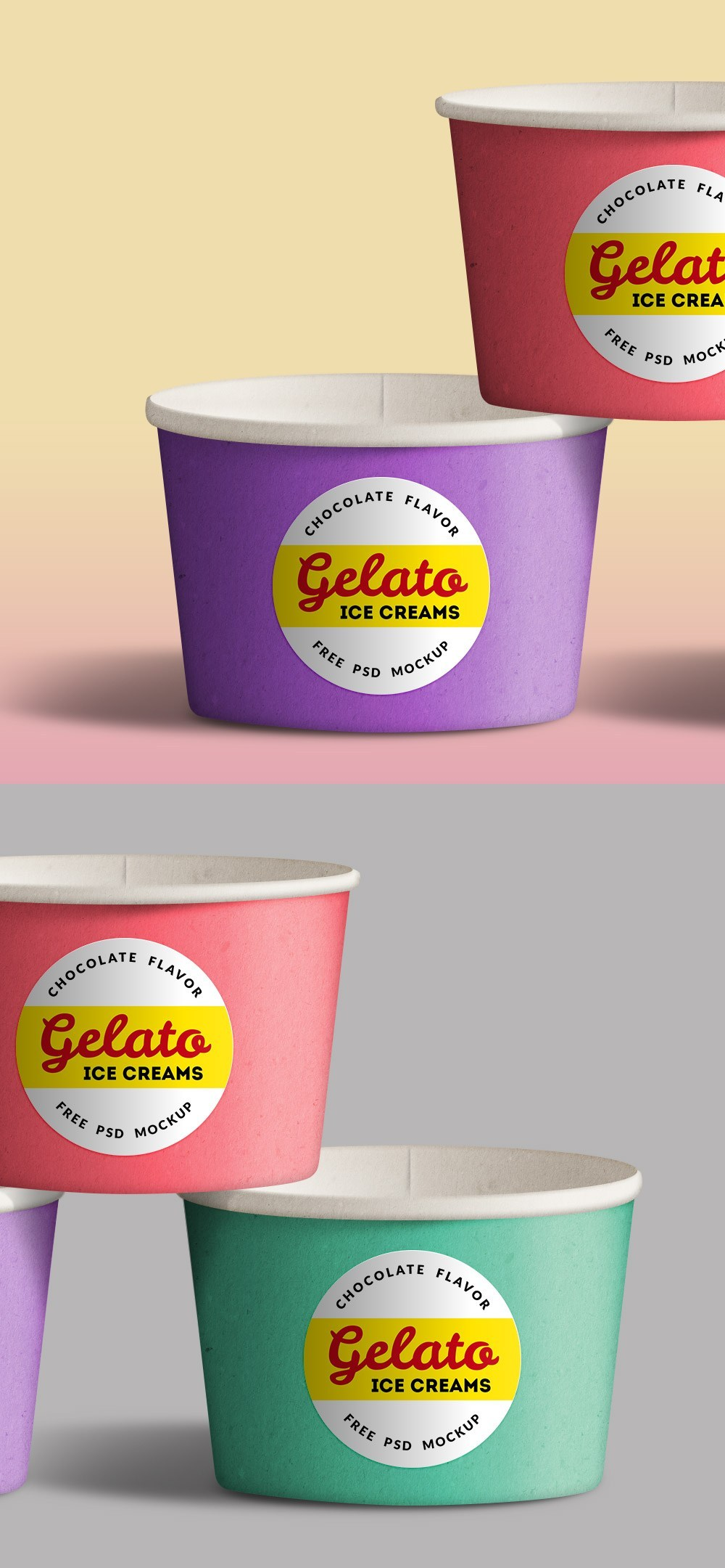 Ice Cream Cups Mockup PSD