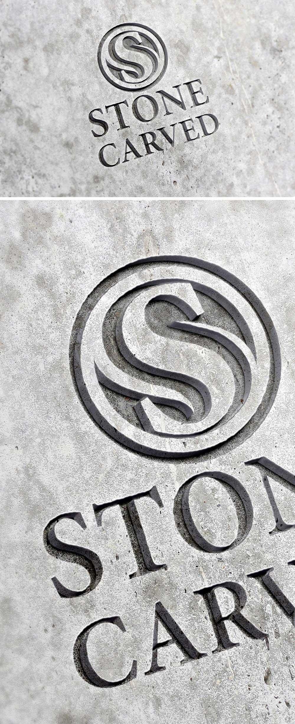 Carved Stone Logo Mockup PSD