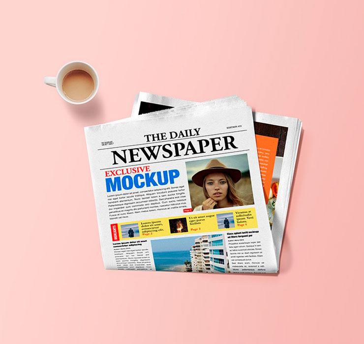 Folded Newspaper Mockup