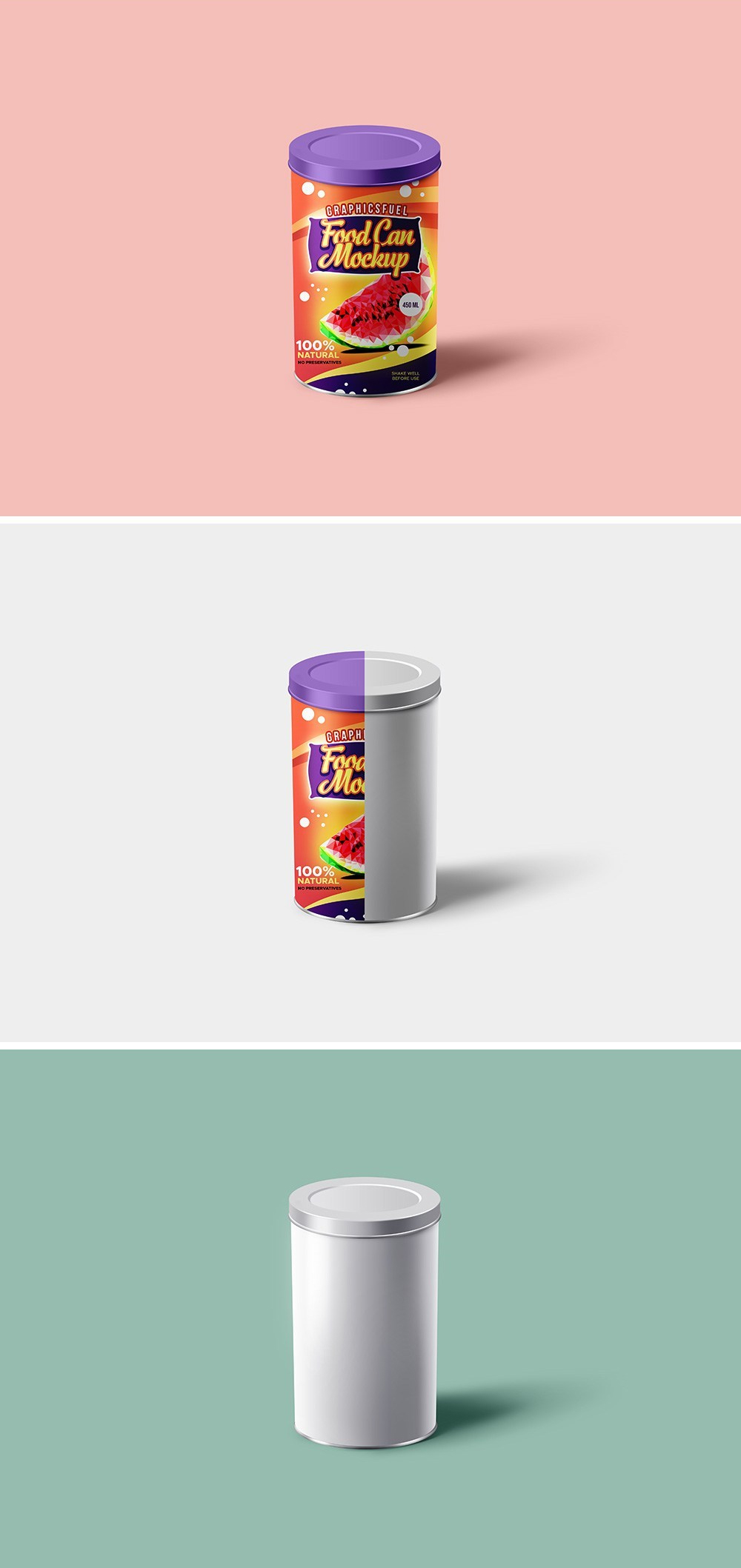 Food Can Tin Mockup