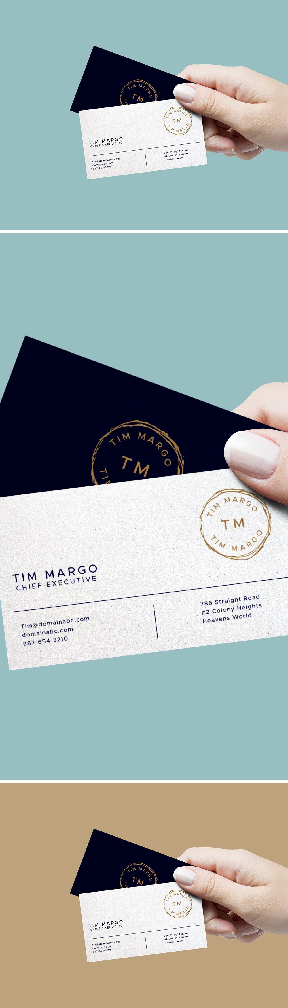 Hand Holding Business Cards Mockup