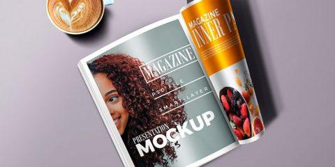 Folded Magazine Mockup